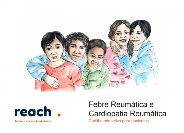 Cover page of rheumatic fever and rheumatic heart disease flipchart (in Portuguese)